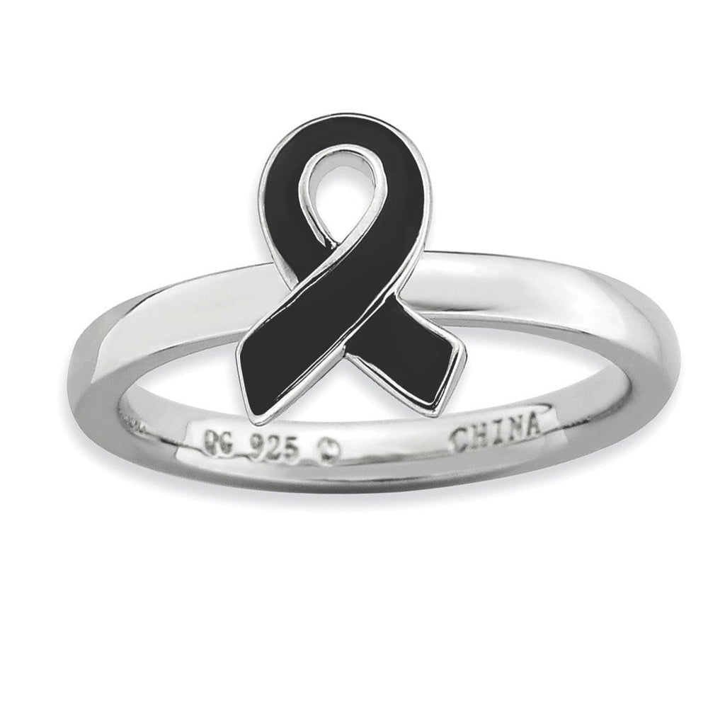 Sterling Silver Stackable Expressions Black Enameled Awareness Ribbon Ring - shirin-diamonds