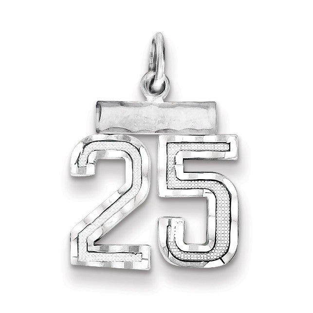 Sterling Silver Small #25 Charm QSN25 - shirin-diamonds