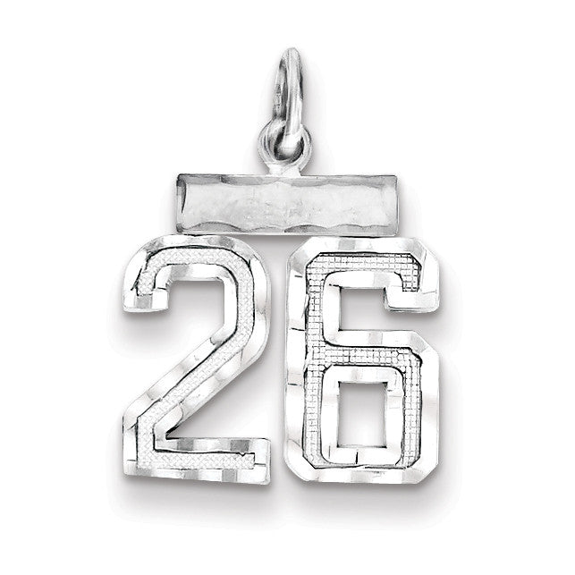 Sterling Silver Small #26 Charm QSN26 - shirin-diamonds