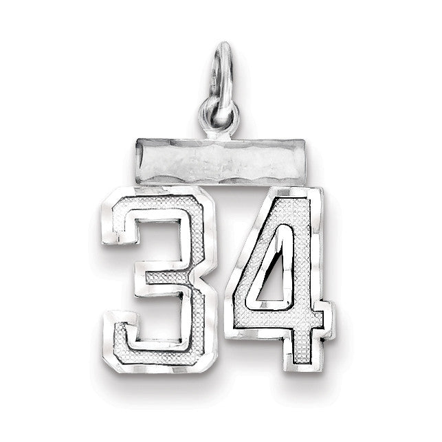 Sterling Silver Small #34 Charm QSN34 - shirin-diamonds