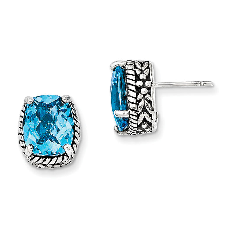 Sterling Silver Swiss Blue Topaz Earrings QTC239 - shirin-diamonds