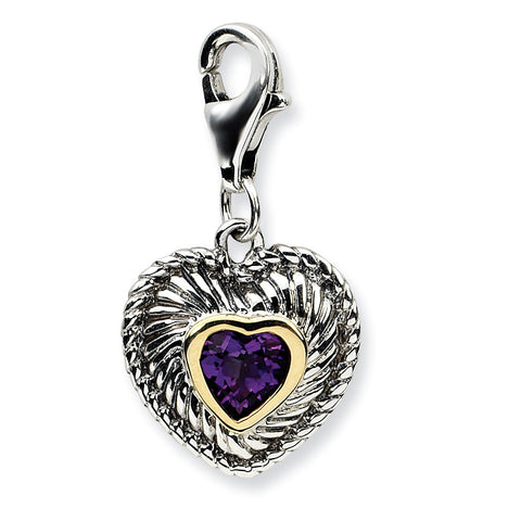Sterling Silver w/14k Amethyst Antiqued Charm QTC304 - shirin-diamonds
