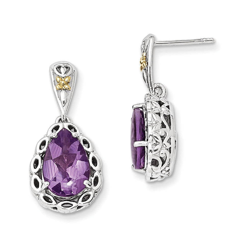 Sterling Silver w/14k Amethyst Earrings QTC703 - shirin-diamonds