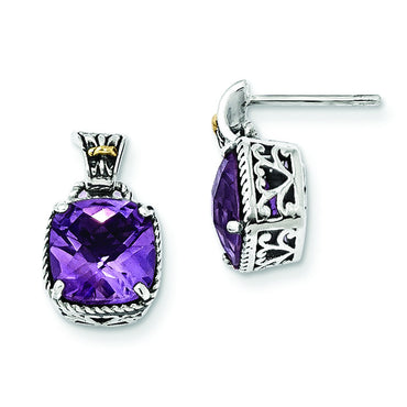 Sterling Silver w/14k Amethyst Earrings QTC732 - shirin-diamonds