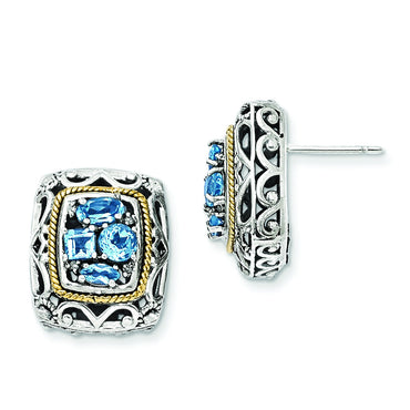 Sterling Silver w/14k Diamond & Blue Topaz Earrings QTC770 - shirin-diamonds
