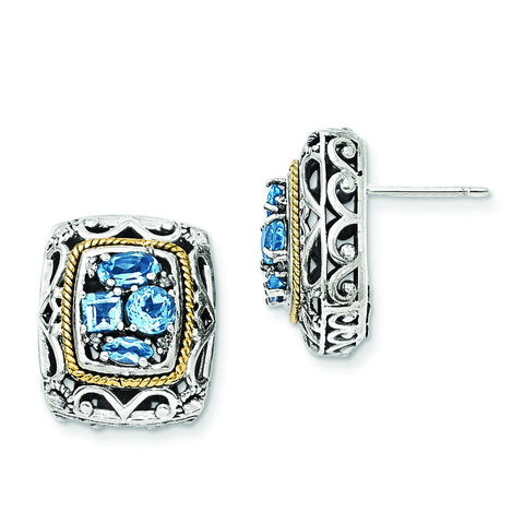 Sterling Silver w/14k Diamond & Blue Topaz Earrings QTC770