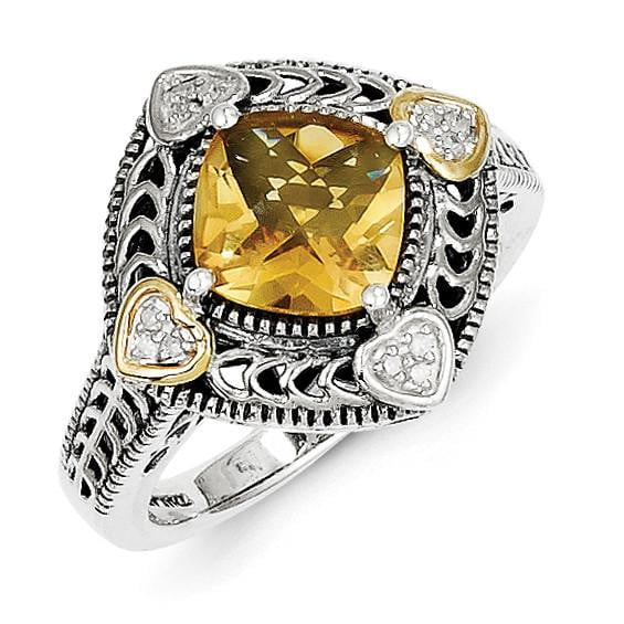 Sterling Silver w/14k Diamond & Citrine Ring - shirin-diamonds
