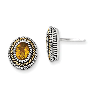 Sterling Silver w/14k Citrine Earrings QTC844 - shirin-diamonds