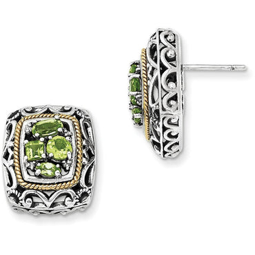 Sterling Silver w/14k Diamond & Peridot Earrings QTC861 - shirin-diamonds