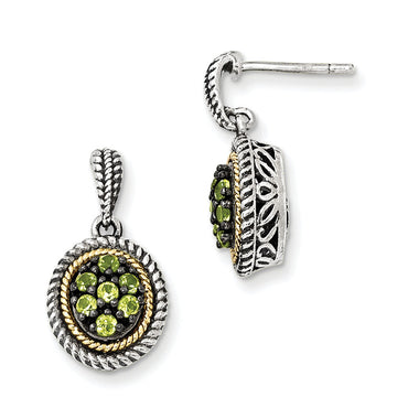 Sterling Silver w/14k Peridot Earrings QTC879 - shirin-diamonds