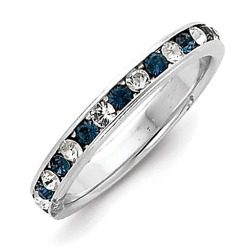 Sterling Silver Blue & White CZ Eternity Band - shirin-diamonds