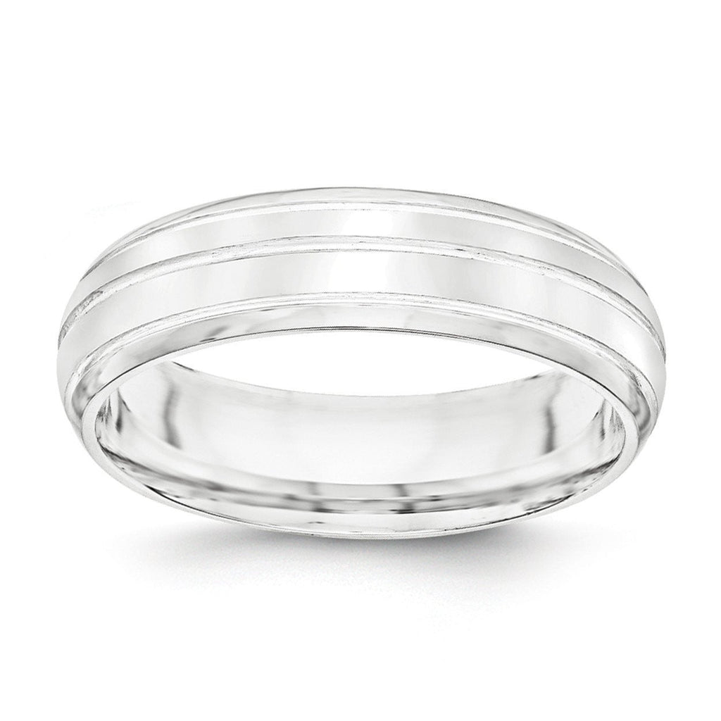 SS 6mm Polished Fancy Band Size 13.5