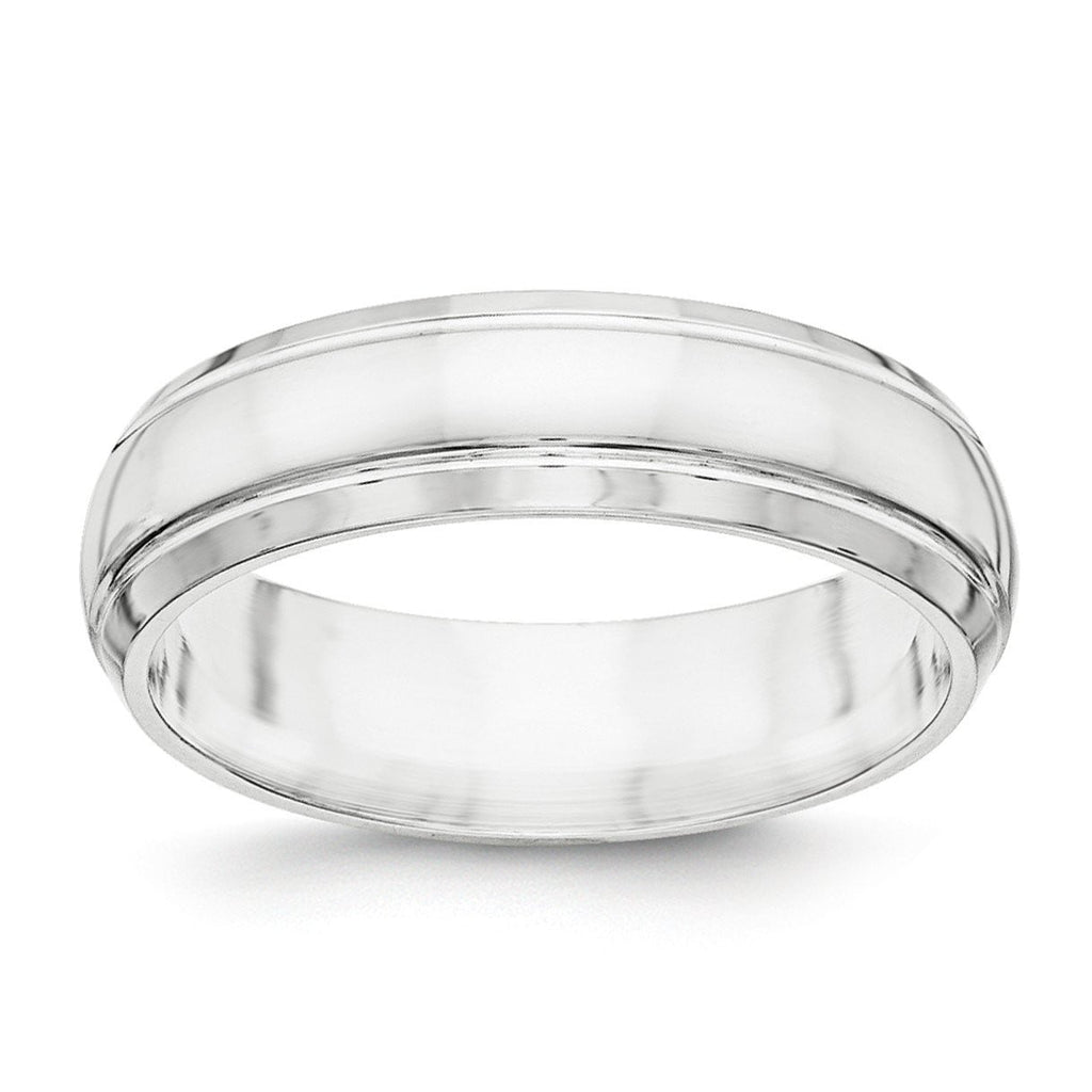 SS 6mm Polished Fancy Band Size 11.5