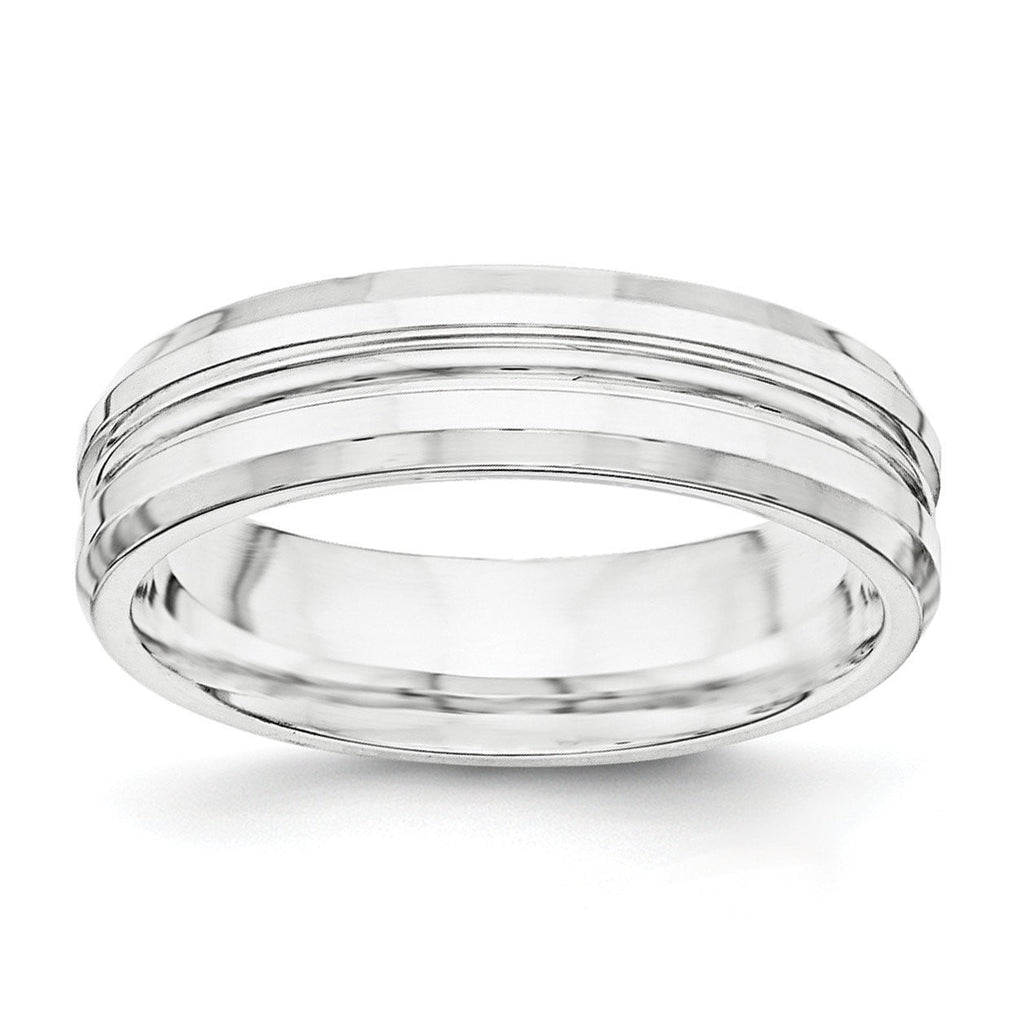 SS 6mm Polished Fancy Band Size 8