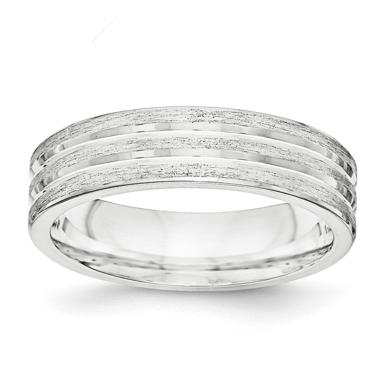 SS 6mm Brushed Fancy Band Size 12.5 - shirin-diamonds