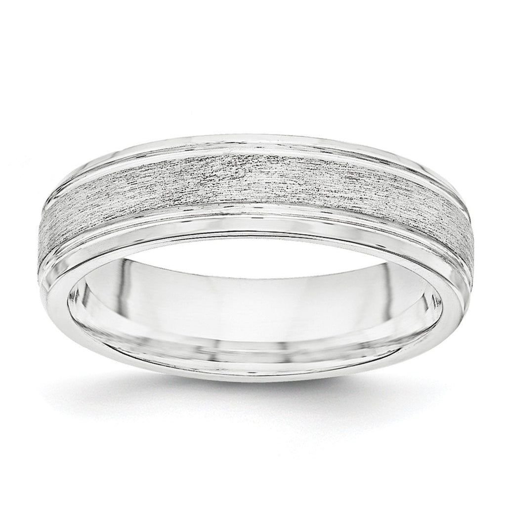 SS 6mm Brushed Fancy Band Size 8