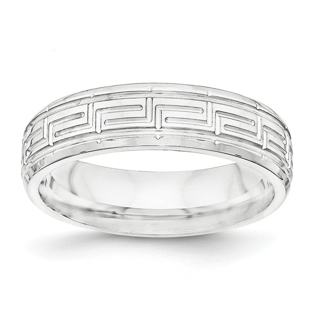 SS 6mm Polished Fancy Band Size 7