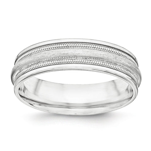 SS 7mm Brushed Fancy Band Size 13.5 - shirin-diamonds