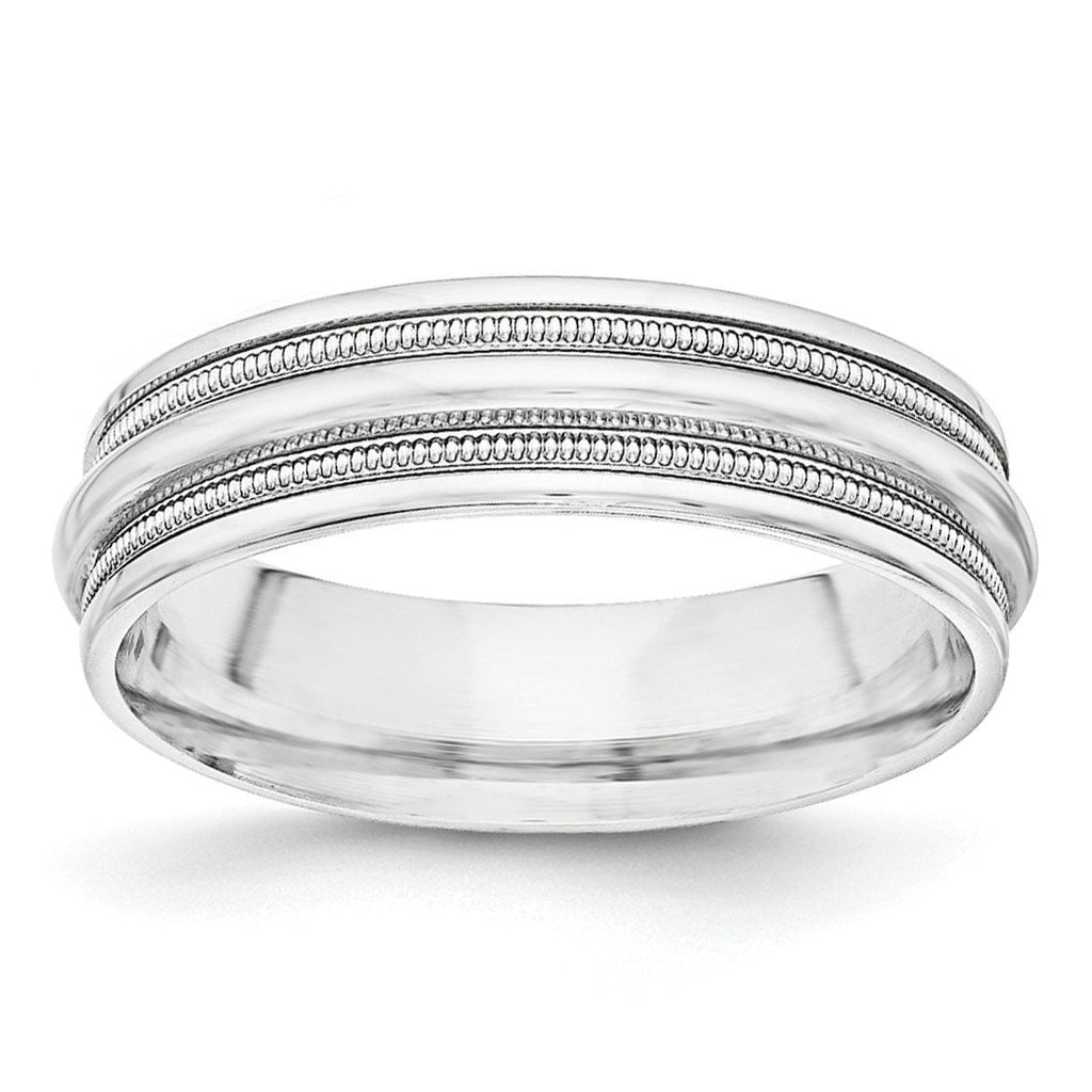 SS 7mm Polished Fancy Band Size 12