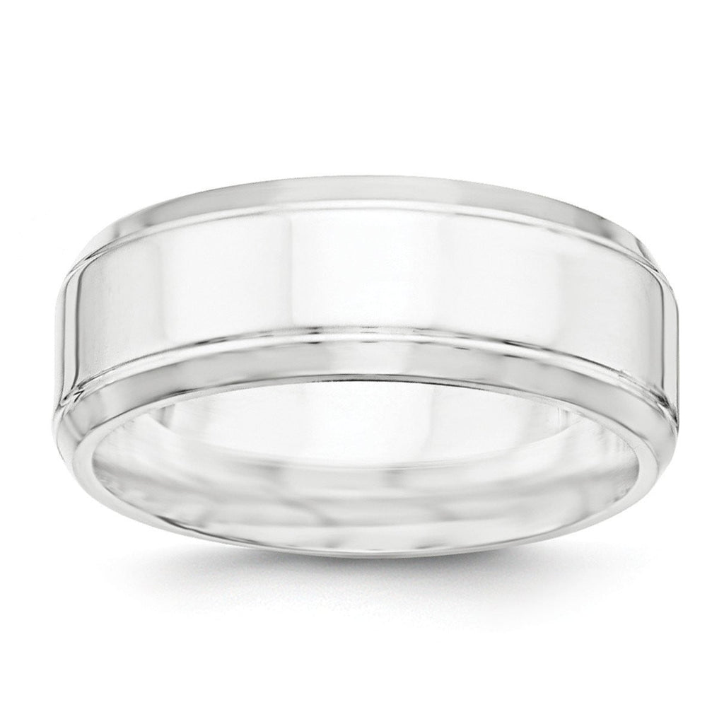 SS 8mm Polished Fancy Band Size 12.5