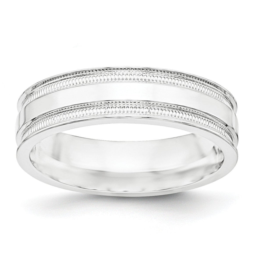 SS 6mm Polished Fancy Band Size 7.5