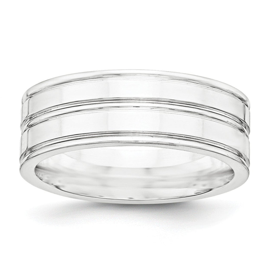 SS 8mm Polished Fancy Band Size 12