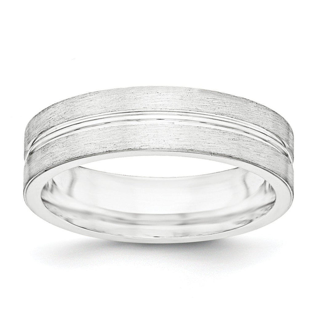 SS 6mm Brushed Fancy Band Size 10.5 - shirin-diamonds