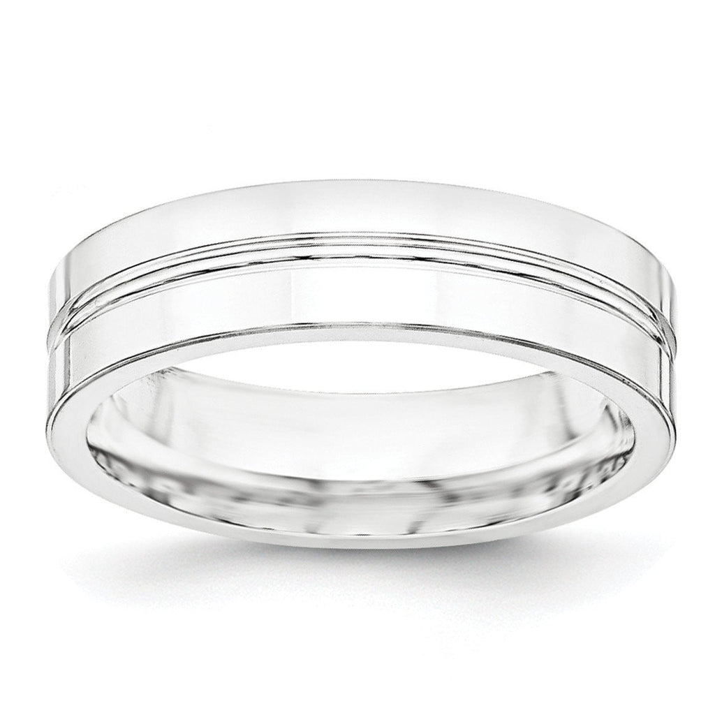 SS 6mm Polished Fancy Band Size 9