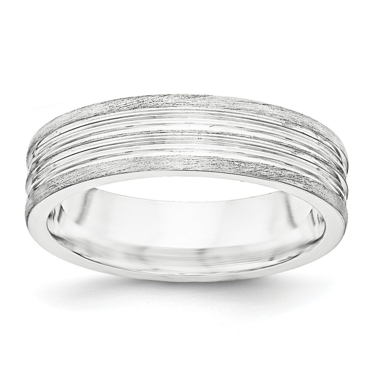 SS 6mm Brushed Fancy Band Size 13.5 - shirin-diamonds