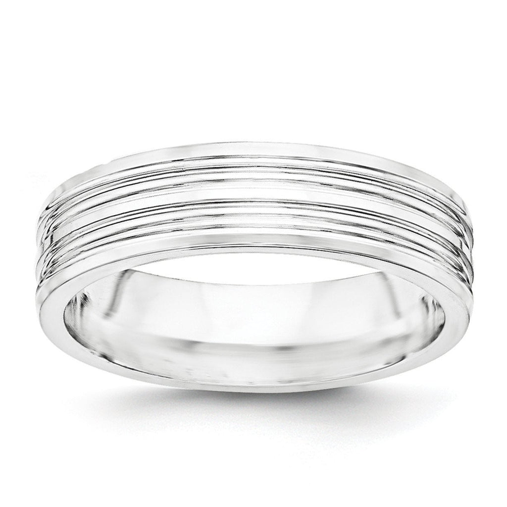 SS 6mm Polished Fancy Band Size 13