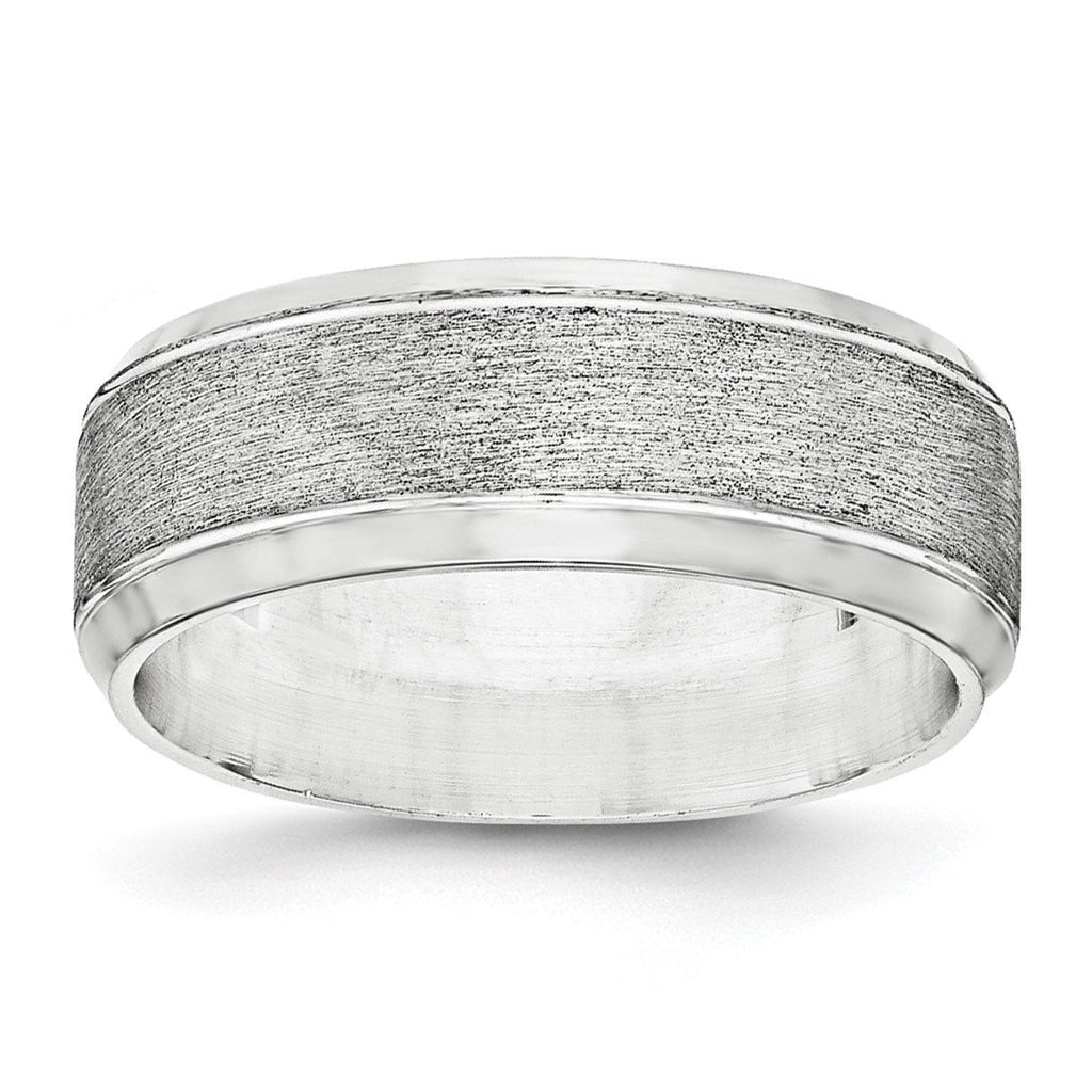 SS 8mm Brushed Fancy Band Size 13.5 - shirin-diamonds
