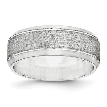 SS 8mm Brushed Fancy Band Size 9.5 - shirin-diamonds