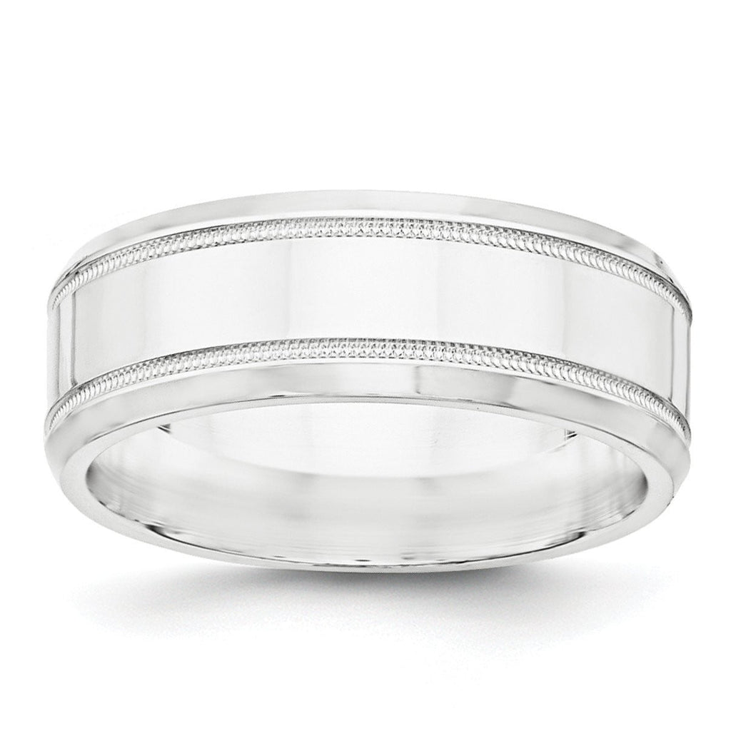 SS 8mm Polished Fancy Band Size 7.5