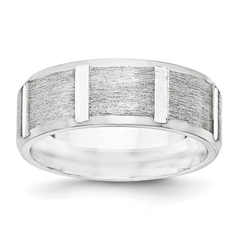 SS 8mm Brushed Fancy Band Size 7.5 - shirin-diamonds