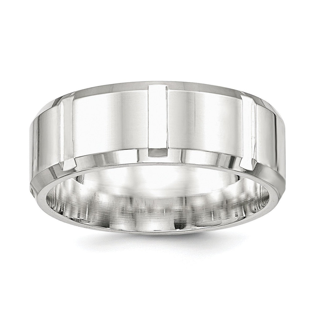 SS 8mm Polished Fancy Band Size 13.5