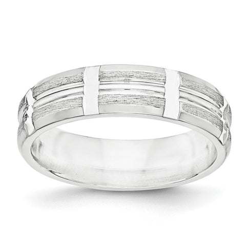 SS 7mm Brushed Fancy Band Size 12 - shirin-diamonds