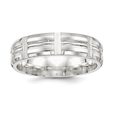 SS 7mm Polished Fancy Band Size 12.5 - shirin-diamonds