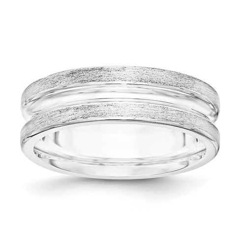 SS 7mm Brushed Fancy Band Size 9 - shirin-diamonds