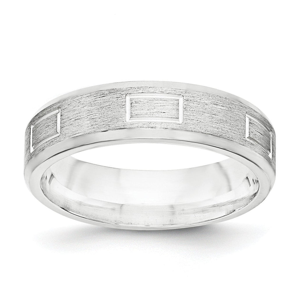 SS 6mm Brushed Fancy Band Size 13 - shirin-diamonds