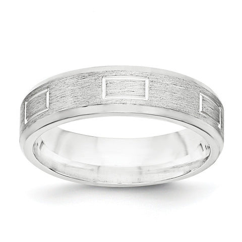 SS 6mm Brushed Fancy Band Size 11 - shirin-diamonds