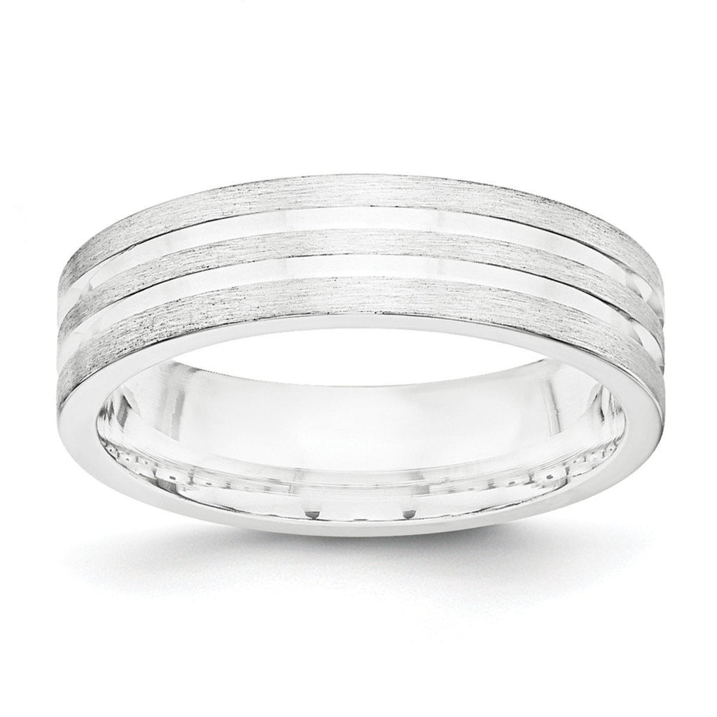 SS 6mm Brushed Fancy Band Size 7