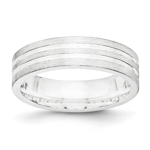 SS 6mm Brushed Fancy Band Size 11.5 - shirin-diamonds