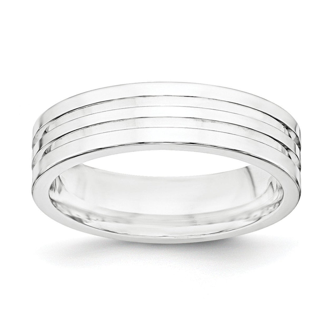 SS 6mm Polished Fancy Band Size 8.5