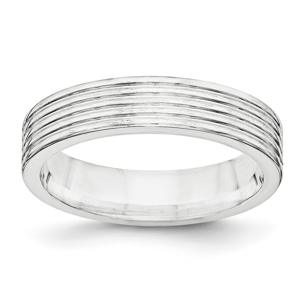 SS 5mm Polished Fancy Band Size 8