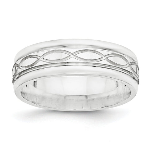 SS 7mm Polished Fancy Band Size 11 - shirin-diamonds
