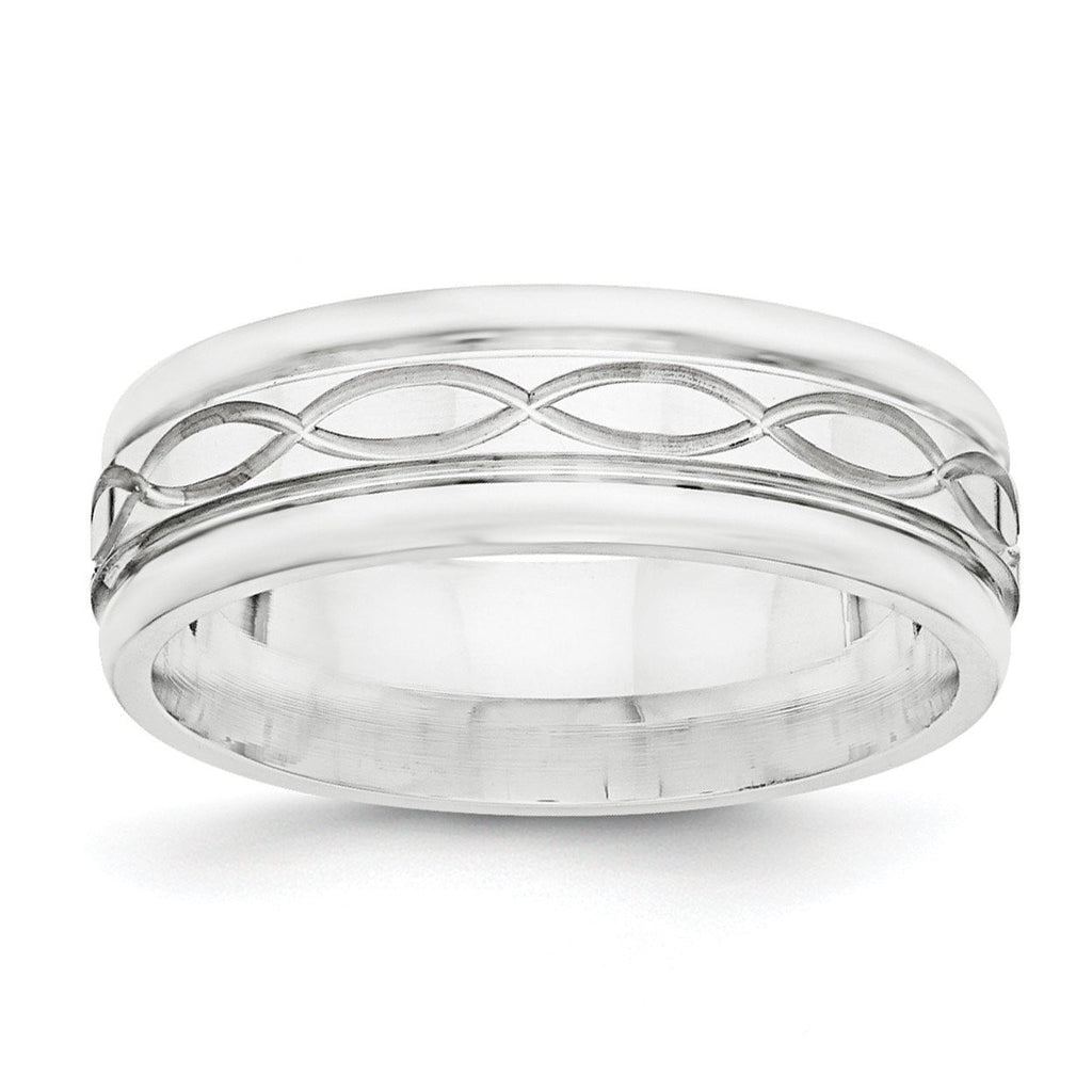 SS 7mm Polished Fancy Band Size 11.5