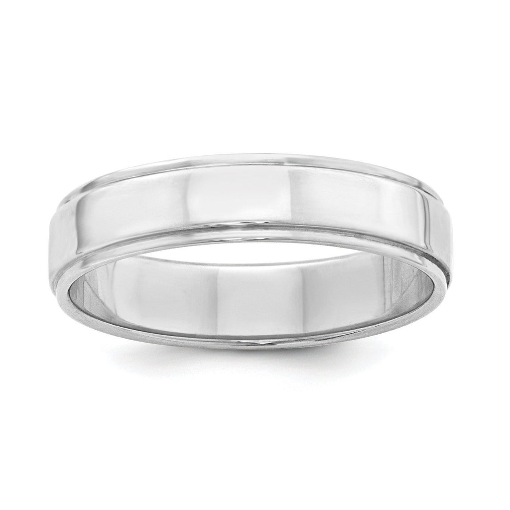 SS 5mm Flat w/ Step Edge Size 6 Band - shirin-diamonds