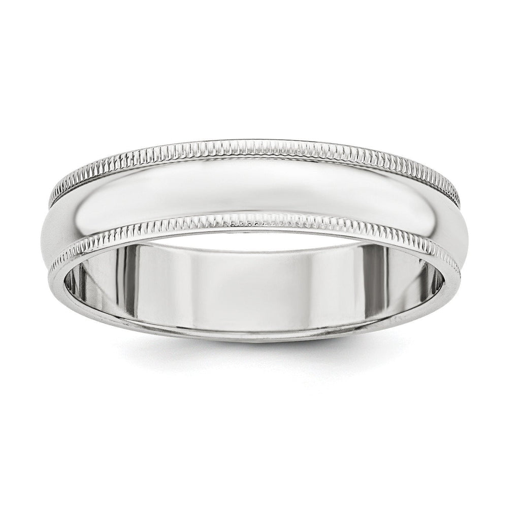 Sterling Silver 5mm Half Round Milgrain Band - shirin-diamonds