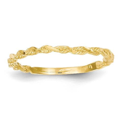 14K Diamond-cut Textured Rope Band Ring - shirin-diamonds
