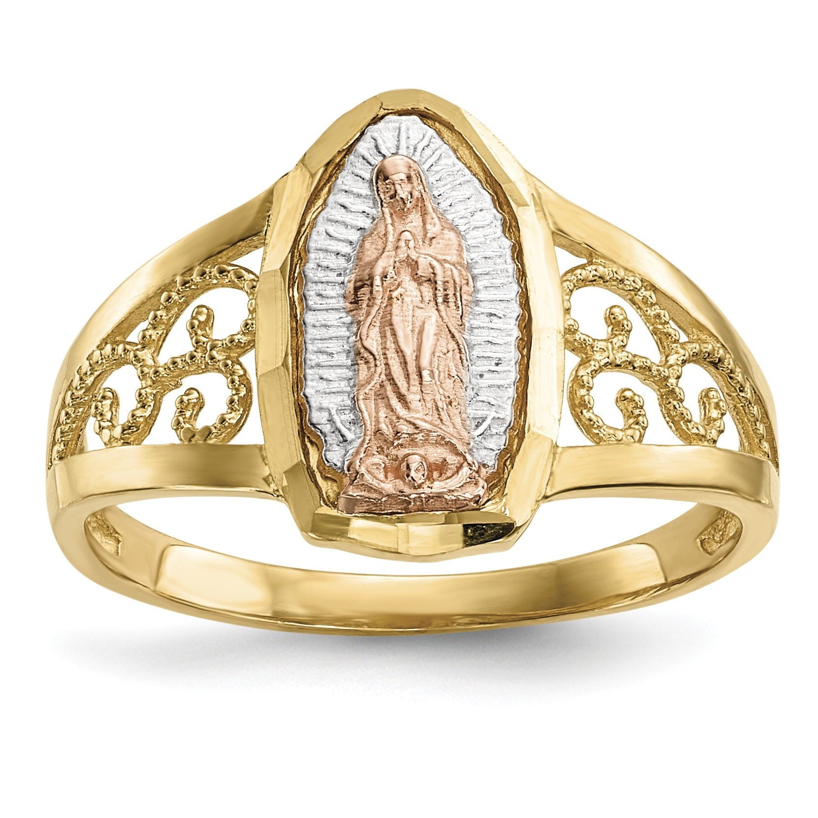 14k Two-tone w/White Rhodium Lady of Guadalupe Ring - shirin-diamonds